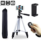Paladinz Phone Tripod 42 Inch Aluminum Lightweight iPhone Tripod Stand for Camera Smartphone Cellphone with Carrying Bag and Smartphone Mount and Wireless Bluetooth Remote Control
