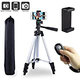 """Paladinz Phone Tripod 42 """" Inch Aluminum Lightweight Smartphone Tripod Stand for Camera Smartphone Cellphone with Carrying Bag and Smartphone Mount and Wireless Bluetooth Remote Control"""
