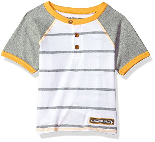 Burt's Bees Baby Baby Boy's Little Kids T-Shirt, Short Sleeve V-Neck and Crewneck Tees, 100% Organic Cotton, Cloud/Grey Stripe Raglan, 6 Years