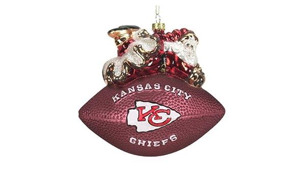 Kansas City Chiefs 5 1//2 Peggy Abrams Glass Football Ornament