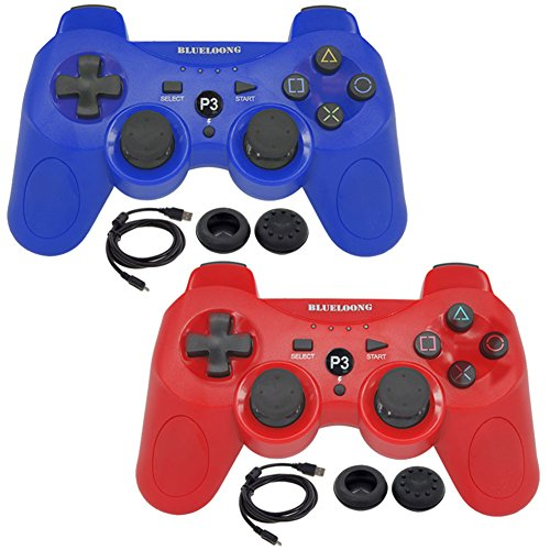 BlueLoong 2 Pack PS3 Controller Wireless SIXAXIS Double Shock Remote Dualshock Gamepad for PlayStation 3 with Charge Cable
