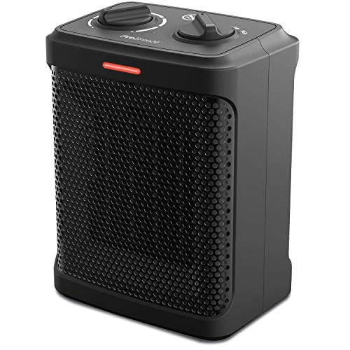 Pro Breeze 1500W Mini Ceramic Space Heater with 3 Operating Modes and Adjustable Thermostat - Black