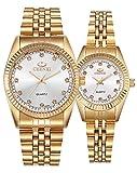 Couple Watches Swiss Brand Golden Watch Men Women Stainless Steel Waterproof Quartz Watch Gift Set (White)