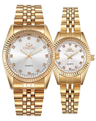 Couple Watches Swiss Brand Golden Watch Men Women Stainless Steel Waterproof Quartz Watch Gift Set (White) by MASTOP