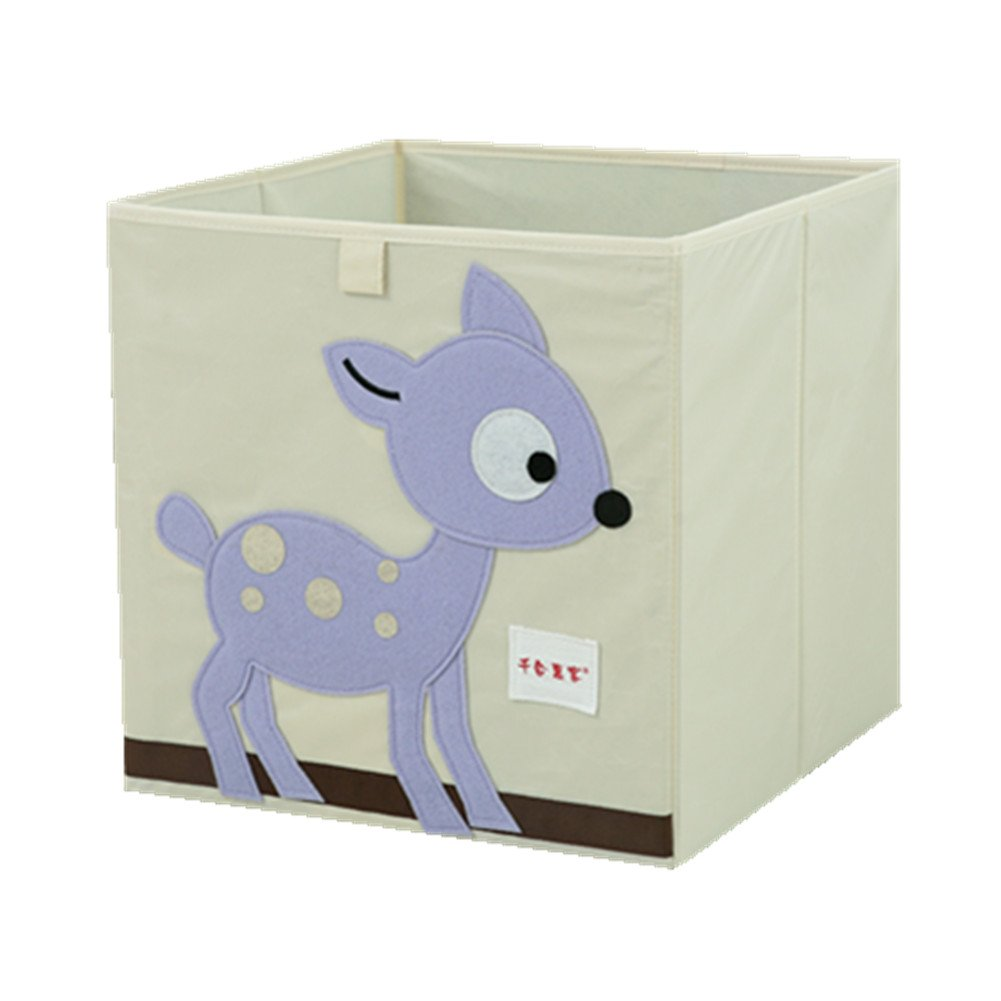 Kid's Foldable Cotton Toy Storage Box and Fabric Closet Organizer (Deer)