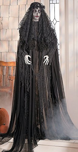 Halloween Decor Scary (Lifesize Standing Widow Ghost Woman in Black with Flashing Red Eyes Spooky Scary Halloween Prop Decor)
