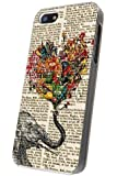 iphone 5 5S Vintage Newspaper Elephant Holding Floral love heart Design Case/Back COVER PLASTIC/METAL-Clear Frame