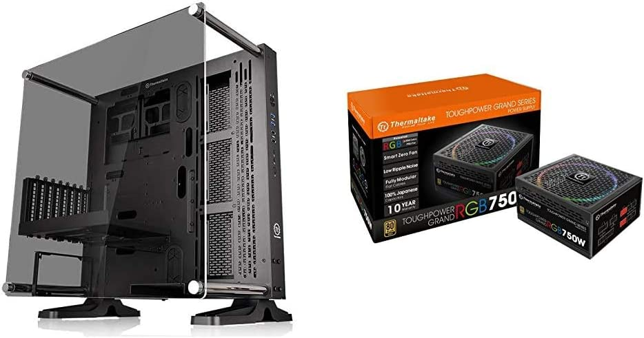 Thermaltake Core P3 ATX Tempered Glass Gaming Computer Case and Toughpower Grand RGB 750W 80+ Gold Smart Zero 256-Color RGB Fan