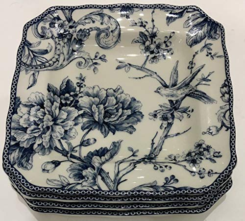 Toile Porcelain Plate (222 Fifth Adelaide Blue Toile Square Salad Plates | Set of 4 | 8.5