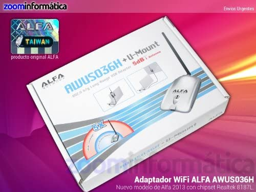 AWUS036H 1000mW v5 + Ventosa + Clip + Antena 9.3dbi Alfa Network (PACK)