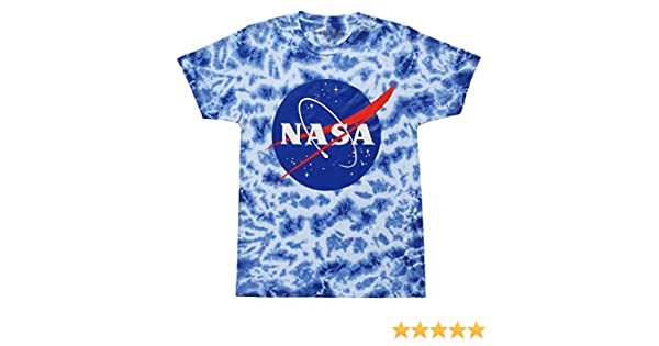 16203199 Mighty Fine NASA Logo Adult Tie Dye T-Shirt - Ice Blue (Large) | Amazon.com