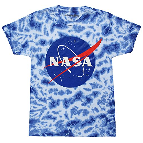 Nasa Logo Adult Tie Dye T-shirt - Ice Blue (Large)