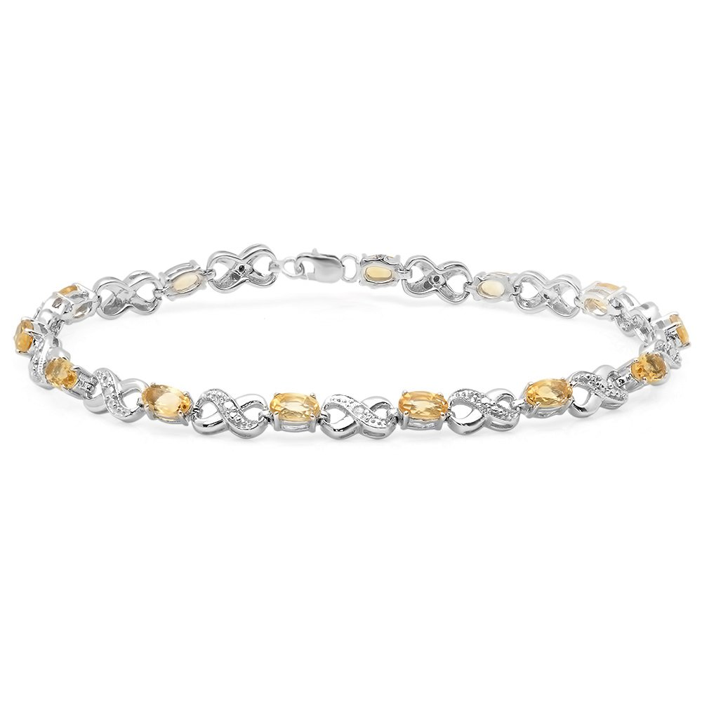 Sterling Silver Real Oval Cut Citrine & Round Cut White Diamond Ladies Infinity Link Tennis Bracelet