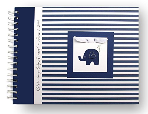 Elephant Baby Memory Book - Personalized Baby Album (20 Center Designs & 2 Cover Colors) - Navy Blue - Marie Stripe
