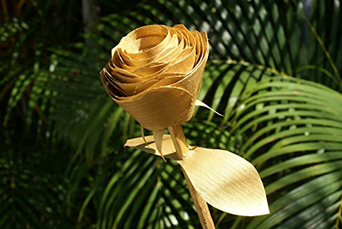 Gold Rose handmade from wood shavings for 50th wedding anniversary, Birthday flowers, Romantic gift, retirement present