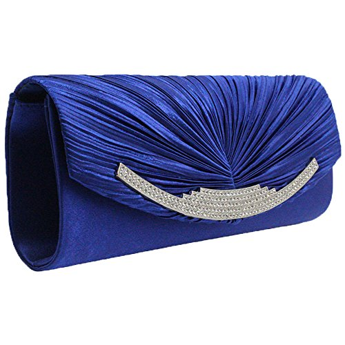 Crystal Prom Royal Purse Silver Evening Women Satin Blue Party Clutch Bag Wedding Diamante Cckuu z7BqnfEw