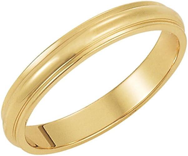 Black Bow Jewelry 3mm Half Round Ridged Edge Band in 10k Yellow Gold