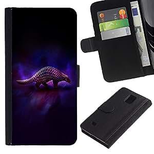 Billetera de Cuero Caso Titular de la tarjeta Carcasa Funda para Samsung Galaxy Note 4 SM-N910 / Animal Art Armadillo Dark / STRONG