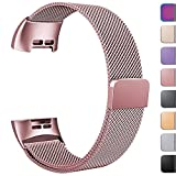 GEAK Replacement Compatible Fitbit Charge 3 Bands /Charge3 SE Metal Bands for Women Men, Premium Stainless Steel Loop with Magnetic Lock Accessories Bands for Fitbit Charge3, Multi Color S & L