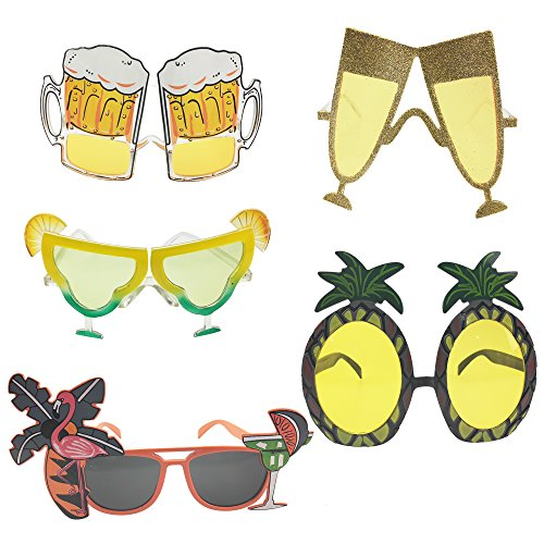 Tropical Hawaiian Party Sunglasses, Pineapple, Flamingos, Champagne, Beer Mug, Soda Novelty Funny Cool Sunglasses Favors for Man Woman in Summer by CSPRING ()