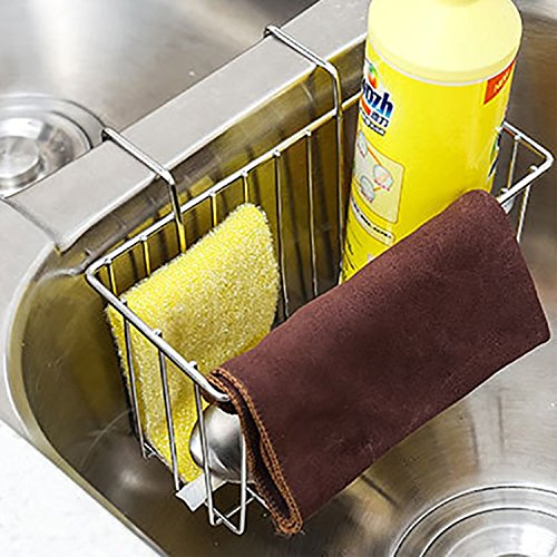 SANNO Kitchen Sink Sponge Holder,In Sink Caddy Utensil Holder Brush Soap Dish washing Organizer Tray Liquid Drainer Rack - Stainless Steel by SANNO (Image #8)