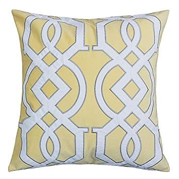 Amazon Homey Cozy Applique Yellow Velvet Throw Pillow Cover Enchanting Bright Yellow Decorative Pillows