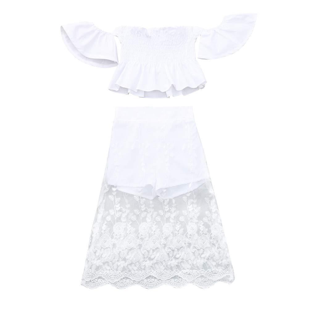 PAOLIAN Conjuntos para Bebe Niñas Verano Recién Nacidos Camisetas Sin Tirantes Manga Corta Pantalones Falda Niña Bautiz Encaje Volantes 6 Meses-4 Años: ...