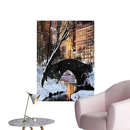 Wall Decals City Manhattan Central Park Lake Bridge in Freezing Winter Dusk Panorama Environmental Protection Vinyl,32