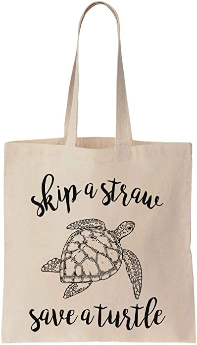 turtle tote bag Skip a straw save a turtle tote bag