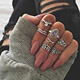 Best Ring With Silver Colors - supaporn shop 7Pcs/Set Vintage Silver Boho Pearl Midi Review