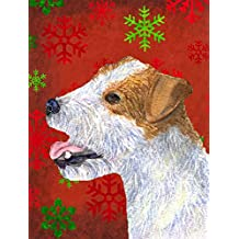 Caroline's Treasures SS4711CHF Jack Russell Terrier Red Snowflakes Holiday Christmas Canvas House Flag