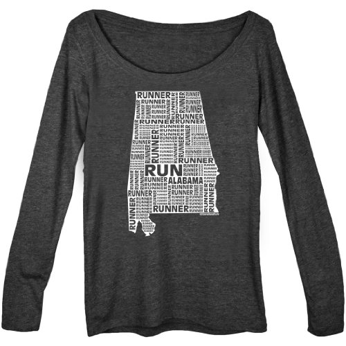 Alabama Runner (Gone For a Run Women's Scoop Neck Long Sleeve Runners Tee - Alabama State Runner XX-Large on Vintage Black)
