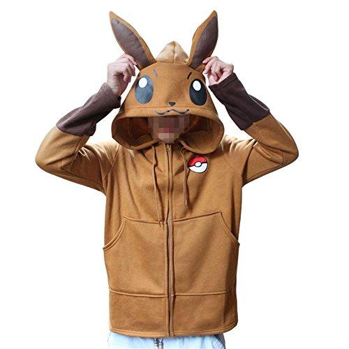 Mikucos Unsiex Men's Women's Pocket Monster Go Eevee Hooded Sweatshirt Hoodie Jacket Coat M -