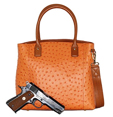 Concealed Carry Purse - Concealment Ostrich Town Tote - Left and Righthand Draw - CCW - by Gun Tote'n Mamas (Orange) by Gun Tote'n Mamas