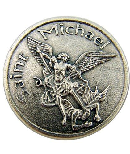 Silver Tone Saint Michael Slaying Dragon Pocket Token Medal, 1 1/8 Inch