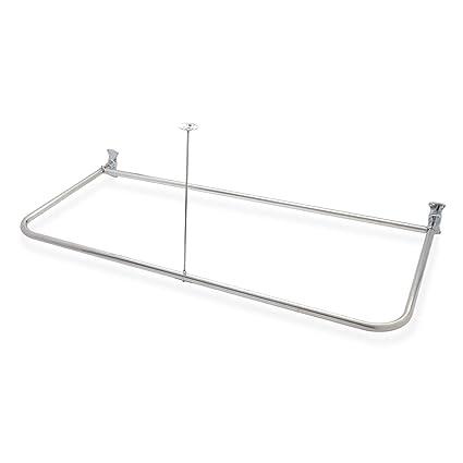 Naiture 54quot L X 30quot W Brass D Shaped Shower Curtain Rod