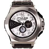 Mulco Blacksteel Swiss Multifunction Movement Men's Watch | Premium Analog Display with Black Accents | Black Silicone Watch Band | Water Resistant Stainless Steel (Black/Silver)