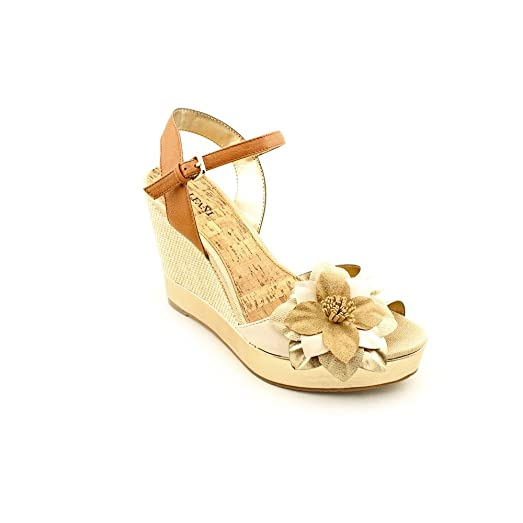 Alfani Womens Frolic Leather Open Toe Casual Platform Sandals Creme Size 85