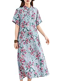 4af2ab3c9 Women Casual Short Sleeve Ethnic Floral Chinese Qipao Long Maxi Summer Vintage  Dress Chinese Knot Buttons