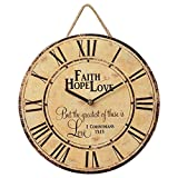 Your Heart's Delight Faith Hope Love Vintage Round 11.5 Inch Wood Wall Hanging Clock Plaque