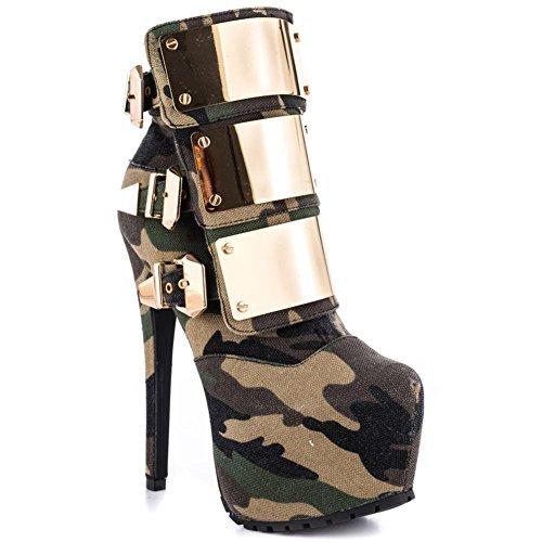 Court EUR41UK758 Stiletto Cheville Automne Hiver Bouton en Bottes Femmes NVXIE Métal Imperméable Chaussures Talon Élevé Printemps Camouflage Cuir CAMOUFLAGE UqwIEaaZ5