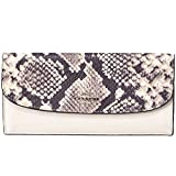Coach Soft Wallet Mix Snake Embossed Leather Trim F57592 Chalk Multi