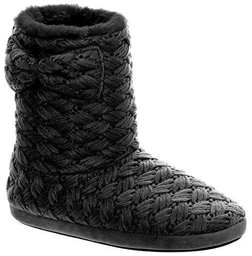 Capelli New York Mesdames Tricot Botte Avec Garniture En Fausse Fourrure Chaussures Dintérieur Noir