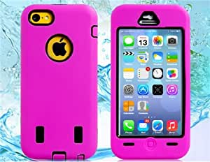 3-in-1 Silicone & TPU Rubber Detachable Case with Transparent Front Cover for iPhone 5C (Rose Red)