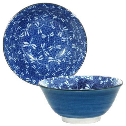 """Japanese 6""""D Porcelain Blue Dragonfly - 2 PCS. - Rice Noodle Soup Bowl"""