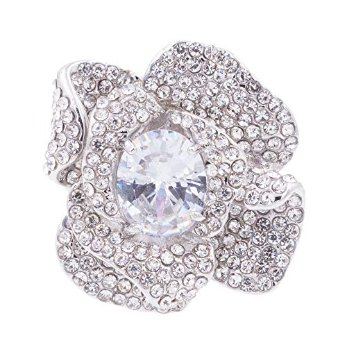 Lavencious Flower Shape CZ & Rhinestone Cocktail Stretch Ring Party Ring for Women (Silver)