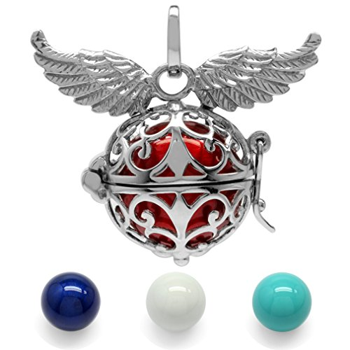 925 Sterling Silver Filigree Angel Wings Harmony Ball Pendant w/ 4-Pc 16MM Colored ()