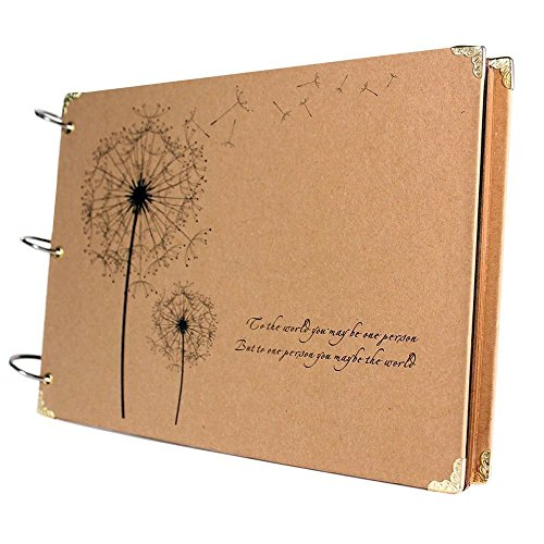 SiCoHome Scrapbook Vintage Photo Albums with Semi-Transparent Protecter Sheets and Scrapbook Storage Box Dandelion Printed Surface Ideal Gifts