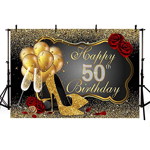 - MEHOFOTO Photo Background Shining Sequin Black Gold High Heels Champagne Woman Red Rose Balloons 50th Happy Birthday Party Banner Backdrops for Photography 8x6ft