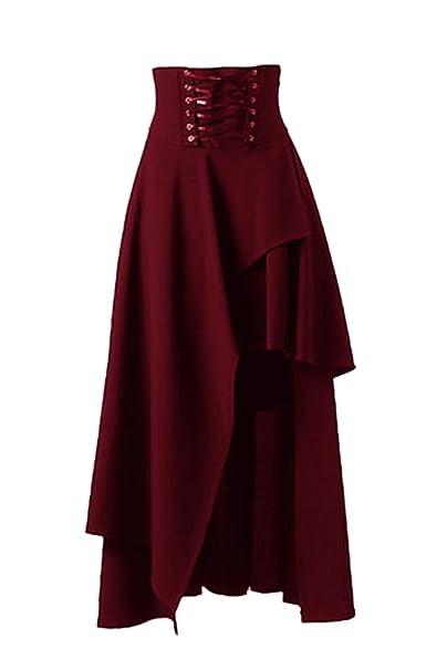 Las Mujeres De Cintura Alta De Lolita Gotica Sólido Vendaje Maxi Falda Asimétrica: Amazon.es: Ropa y accesorios